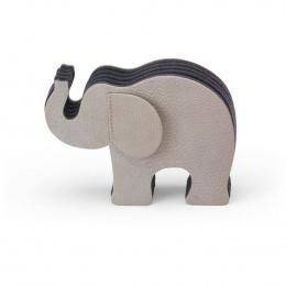 Graf von Faber-Castell Elefant-Stifteköcher aus grauem Nubukleder