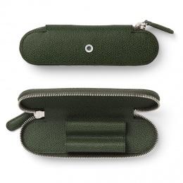 Graf von Faber-Castell Leder EPSOM Reißverschluss-Etui für 2 Schreibgeräte Olive Green