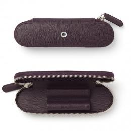 Graf von Faber-Castell Leder EPSOM Reißverschluss-Etui für 2 Schreibgeräte Violet Blue