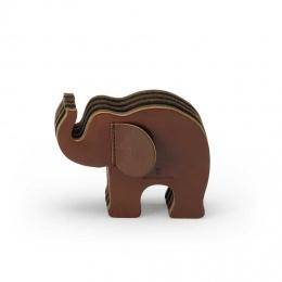 Graf von Faber-Castell Elefant-Stifteköcher aus dunkelbraunem Naturleder