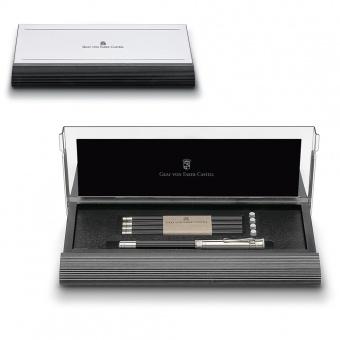 Graf von Faber-Castell Cassette mit platiniertem Perfekten Bleistift, Schwarz