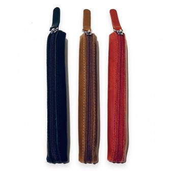 Schreibetui für 1 Schreibgerät mit Reißverschluss aus glattem Leder