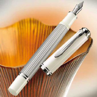 Pelikan Souverän M405 Silber-Weiss Kolbenfüllhalter