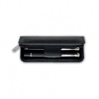 Genarbtes Leder-Etui schwarz, TGX2E, für zwei Schreibgeräte