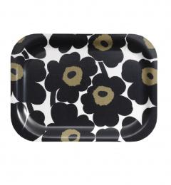 Marimekko Mini-Unikko Tablett 27 x 20 cm Schwarz