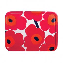 Marimekko Pieni Unikko Sperrholz Tablett 43 x 33 cm Rot